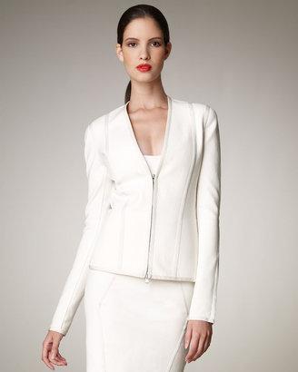 Donna Karan Zip-Front Stretch Blazer