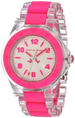 Juicy Couture Women's 1900867 Rich Girl Clear Plastic Bracelet With Neon Pink Silicone Inlay Watch $114 thestylecure.com