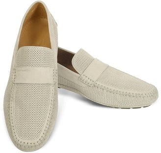Moreschi Portofino - Beige Perforated Suede Driver Shoes