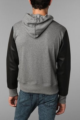 Urban Outfitters The Narrows Faux-Leather Sleeve Pullover Hooded Sweatshirt