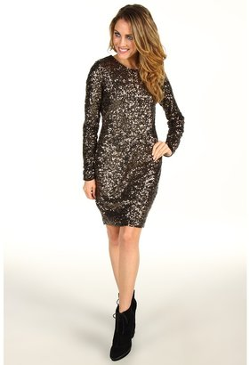 Mark & James by Badgley Mischka Mark James Sequin Long Sleeve Mini (Bronze) - Apparel