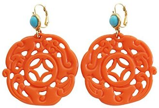 Kenneth Jay Lane Carved Round Oriental Orange Blue Drop Earrings 8860ETLC