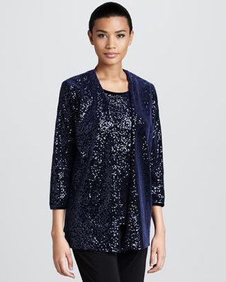 Caroline Rose Sequined Velvet Jacket, Women's