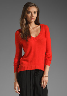 Enza Costa Cashmere Gauze V Neck Sweater