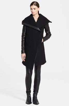 Helmut Lang 'Inclusion Willow' Leather Trim Wool Blend Coat