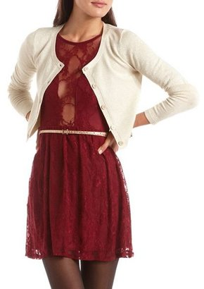 Charlotte Russe Cropped Lurex Cardigan