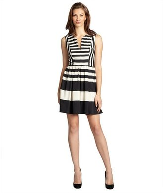 ABS by Allen Schwartz black and ivory striped sleeveless v-neck dress