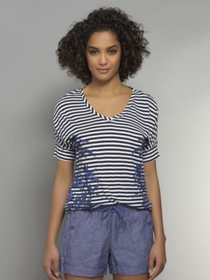New York & Co. Love NY&C Collection - Stripe & Palm Tree Print Top