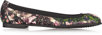 Givenchy Floral-Print Nappa Leather Ballet Flats
