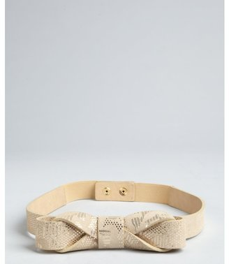 Vince Camuto gold metallic leather and suede 'Holiday Lace' bow detail belt