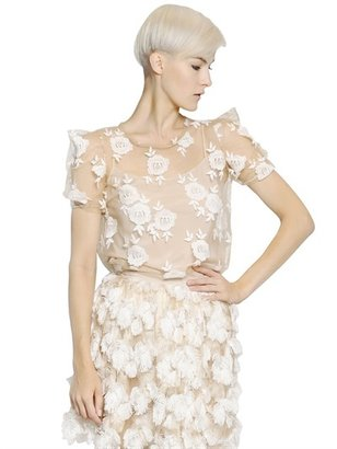 Blumarine Cotton Flower Embroidered Tulle Top