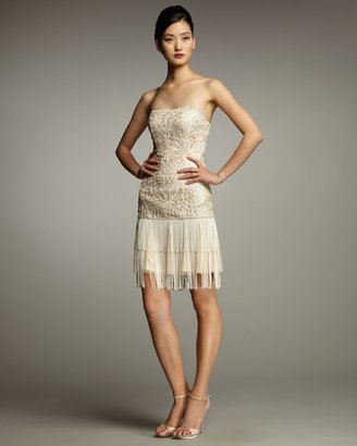 Sue Wong Beaded Dress With Fringe Skirt
