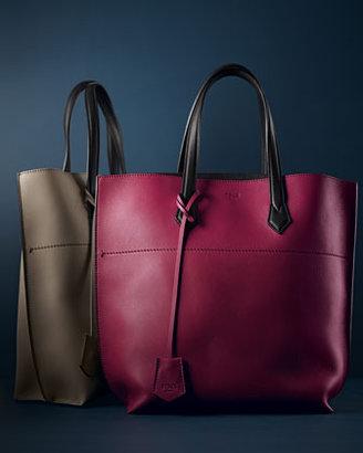 Fendi Matte Leather Shopping Tote Bag, Oxblood