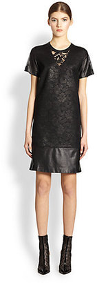 Reed Krakoff Lace & Leather T-Shirt Dress