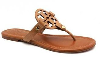 """Tory Burch Miller"""" Tan Patent Leather Thong"""
