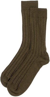 Johnstons of Elgin Mens Cashmere Socks Dark Olive