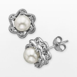 Vera Wang Simply vera sterling silver freshwater cultured pearl & diamond accent stud earrings