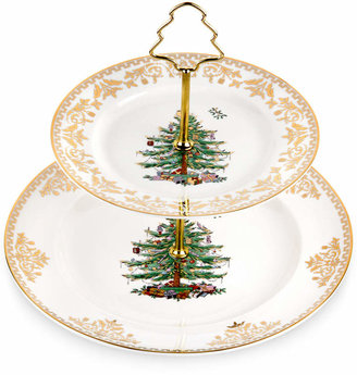 Spode Christmas Tree Gold 2 Tier Cake Stand