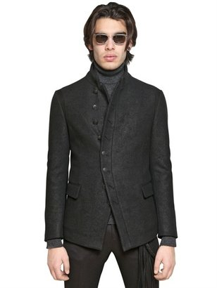 John Varvatos Leather Effect Wool Jacket