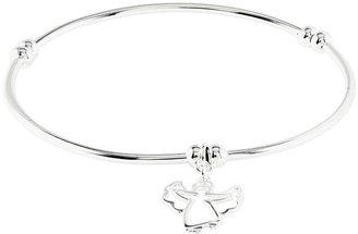 Sterling Polished Dangle Angel Stretch Bracelet