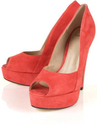 Topshop SCARLETT Coral Suede Platform Peep Toe Shoes
