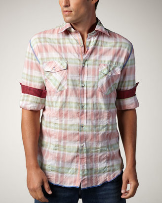 Arnold Zimberg Two-Pocket Plaid Sport Shirt, Rose/Green
