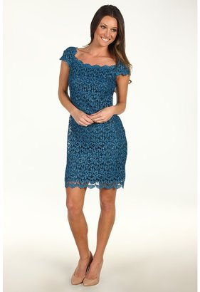 Suzi Chin for Maggy Boutique - Cap Sleeve Boat Neck Lace Sheath Dress (Divine Teal) - Apparel