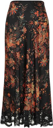 Paco Rabanne Floral-print Lace-trimmed Satin Midi Skirt