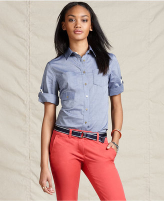 Tommy Hilfiger Shirt, Long Sleeve Button Down Chambray