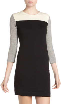 French Connection Colorblock Knit Dress, Black/Cream