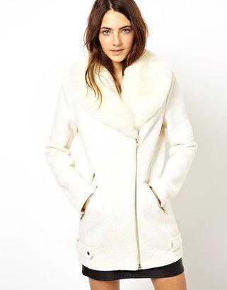 Asos Premium Biker Coat With Detachable Faux Fur Collar