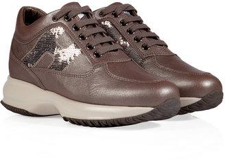 Hogan Leather Interactive Sneakers in Moor