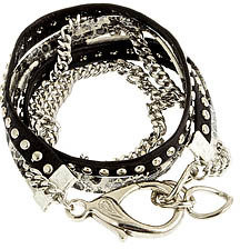 Alexandra Beth Designs Alexandra Beth Leather and Snakeskin Bracelet in Silver