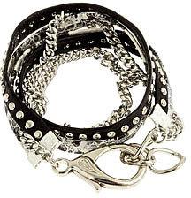 Alexandra Beth Designs Alexandra Beth Leather and Snakeskin Bracelet in Silver