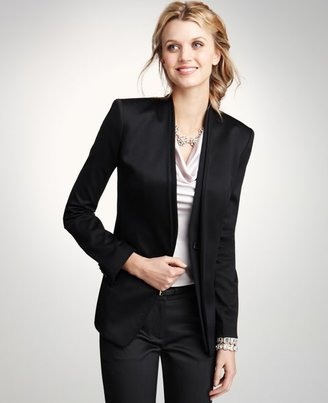 Wool Sateen Collarless Jacket