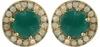 Andrea Fohrman Green Onyx and Opal Button Earrings