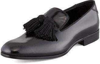 Jimmy Choo Shiny Calfskin Tassel Loafer, Black