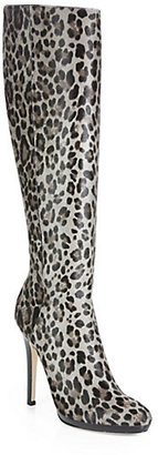 Jimmy Choo Gecco Leopard-Print Pony Hair Knee-High Boots