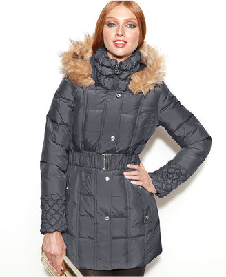 Betsey Johnson Faux-Fur-Trim Hooded Quilted Puffer Coat