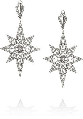 Loree Rodkin Larcy Lacy Starburst rhodium white gold diamond earrings