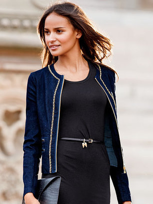 Victoria's Secret Chain-trim Denim Jacket