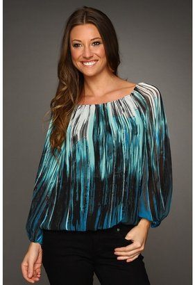 Vince Camuto Brushstrokes Border Peasant Blouse (North Sea) - Apparel