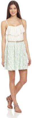Amy Byer A. Byer Juniors Ruffle Neck Full Skirt Dress