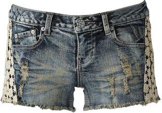 Mudd floral crochet denim shortie shorts - juniors