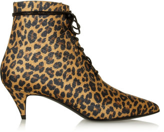 Saint Laurent Leopard-Print Canvas Ankle Boots