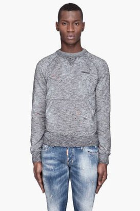 DSquared DSQUARED2 Mottled black Destroyed paint Sweater