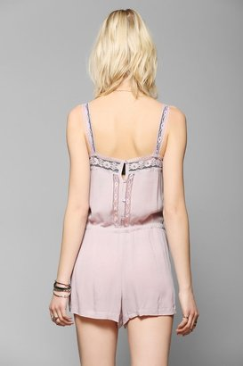 UO Pins And Needles Lace-Trim Gauze Romper