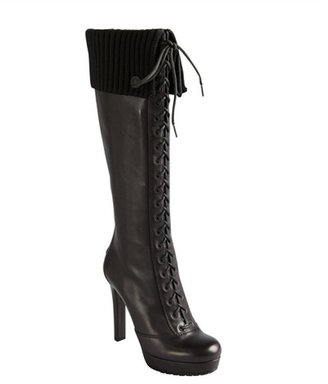 Gucci black leather lace up ribbed cuff platform knee high boots