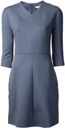 Carven L/s Jersey Vneck Dress Blue