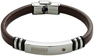 Mooby Code Stainless Steel Crystal Bar Code Leather Bracelet - Men